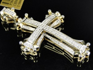 Pave Set Round Cut Diamond Cross Pendant In 10k Yellow Gold (1.75 Ct 2 Inch)