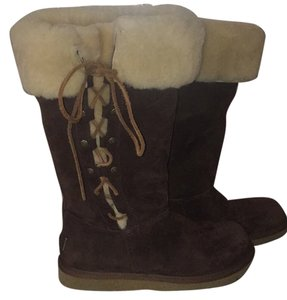 UGG Australia Upside Lace Up Sheepskin Chocolate Brown Boots
