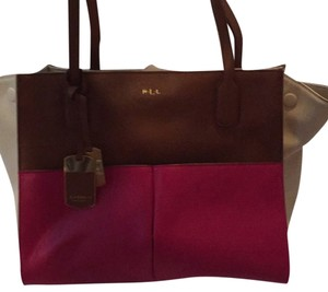 Ralph Lauren Satchel in Beige Brown Pink