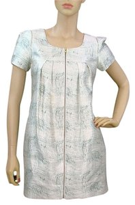 Porter Grey short dress Ivory, Blue Print Spring Silk Empire Waist Sweetheart on Tradesy