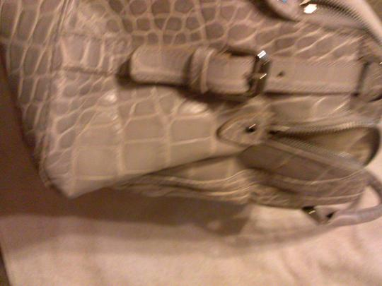 Audrey Brooke Chic Leather Comfortable Tote in gray