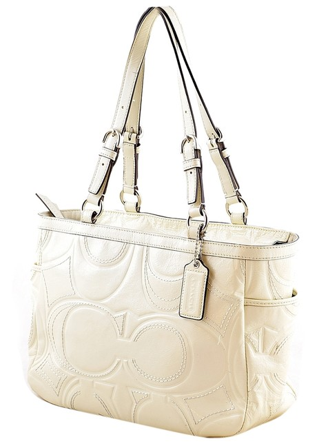 Item - F18326 Gallery Stitched Embossed White Patent Leather Tote