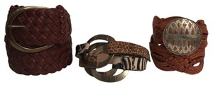 Chico's 3 Belts Woven & Animal Print Leather 1 Express