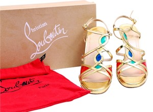 Christian Louboutin Green Blue Red Open Toe Gold Pumps