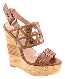 Charles David Platform Wedge Sandal Gold brown Platforms