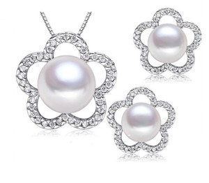 Sterling Silver Bridal Freshwater Pearl Necklace Set