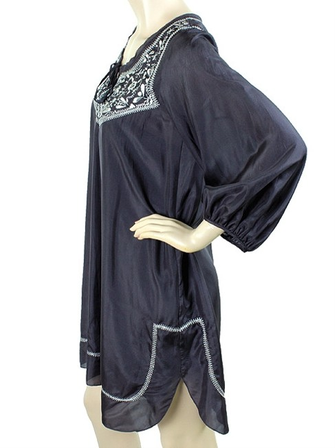 Rebecca Taylor short dress Navy, Blue, White Embroidered Tunic Silk Trumpet Metallic on Tradesy