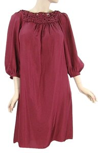 Burgundy, Wine Maxi Dress by Rebecca Taylor Silk Pleated Trumpet Boho Bohemian