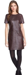 Halogen Leather Genuine Leather Shift Nordstrom Front Pockets Leather Dress