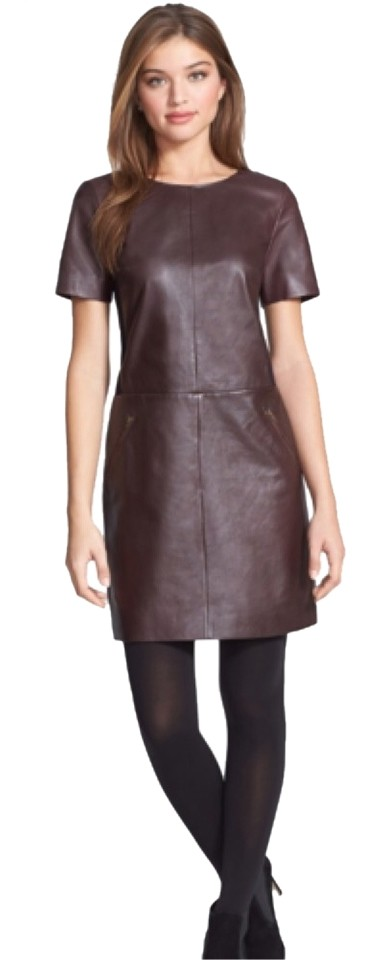 Halogen Brown With Black Contrast Ponte Knit On Top Leather Shift