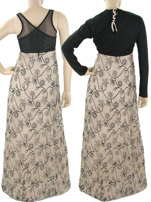 Biege, Black Maxi Dress by Save The Queen Silk Embroidered Trumpet Empire Waist Crisscross Strap