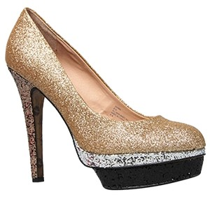 Betsey Johnson Heels Glitter Sparkle Gold Platform gold multi Pumps