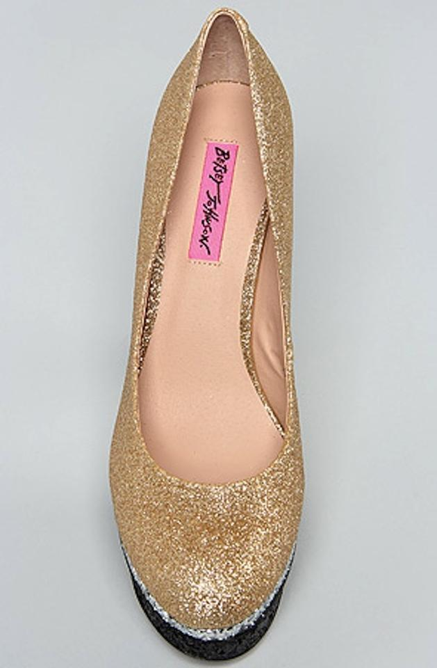 7876dee93bd Betsey Johnson Gold Multi Sparkle Heels Pumps Size US 8.5 Regular (M ...