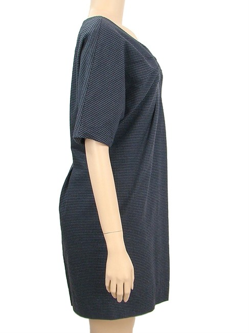 See by Chloe short dress Blue, Navy Cotton Checkered Wool Pleated on Tradesy