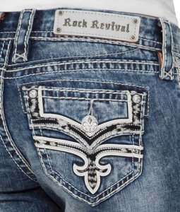 Rock Revival The Buckle Buckle Cropped Bling Faux Flap Pockets Thick Stitching Designer Denim Skinny Jeans-Acid