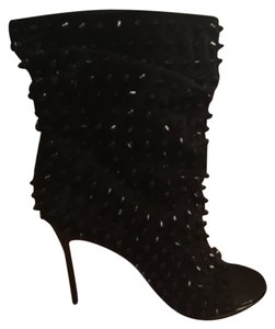 Christian Louboutin Studded Sueded Black Boots
