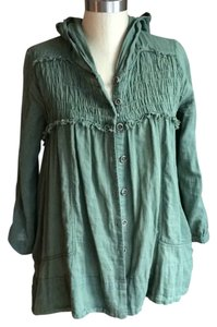 Free People Olive Hooded Tunic Green Jacket