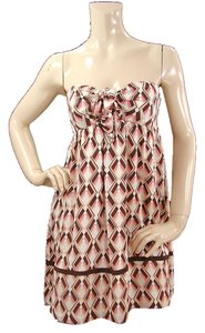 Shoshanna short dress Pink, Ivory, Black Print Strapless Silk Summer Sweetheart Spring Party on Tradesy