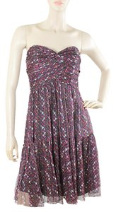 Shoshanna Chiffon Silk Strapless Print Party Sparkle Dress