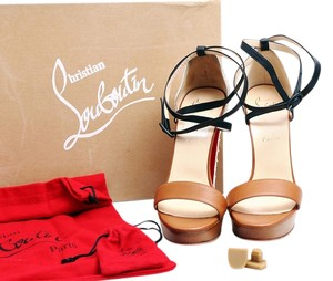 Christian Louboutin Summerissima Crisscross Sandal White/Brown/Black Platforms