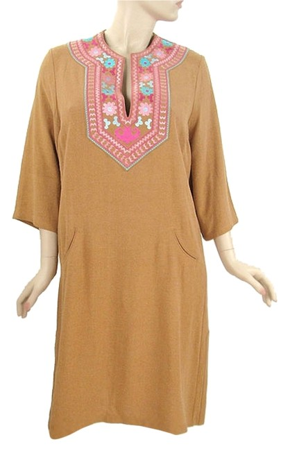Brown, Tan Maxi Dress by Suzanne Simon Wool Tunic Silk Embroidered Floral Boho Bohemian