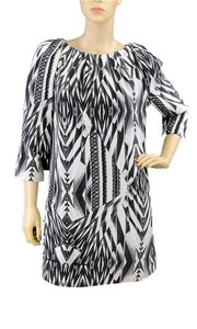 Ted Baker short dress Black, White, Grey Print Spring Summer Mirror Silk Tunic Mini Pleated on Tradesy