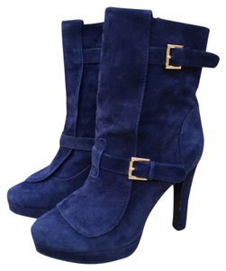 Alexander McQueen Ankle Suede Blue Boots
