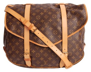 Louis Vuitton Saumur 43 Leather Monogram Classic Canvas Travel Cross Body Brown Messenger Bag