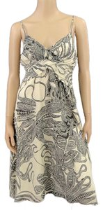 Theory short dress Biege, Black Print Spring Silk Crisscross Strap Paisley on Tradesy