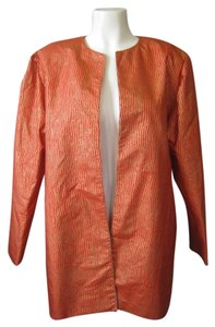 Jim Thompson Metallic Thai Silk Thailand Open Jacket Evening Party Topper Vintage Orange Gold Blazer
