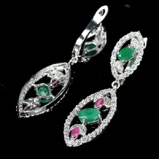 Other NATURAL EMERALD, RUBY & WHITE ZIRCON SILVER EARRING