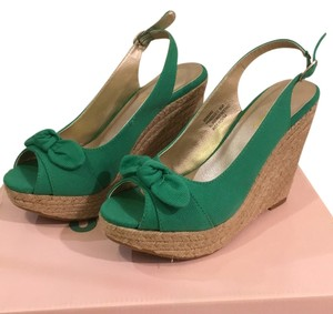 Me Too Green Canvas Wedges