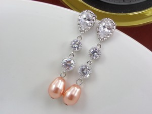 Bridal Pearl Earrings Cubic Zirconia 92.5 Swarovski Teardrop Rose Peach Pearl Bridal Ivory Pearl Wedding Gift Pearl Look