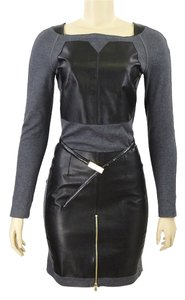 Tod's Leather Wool Applique Two-tone Dress