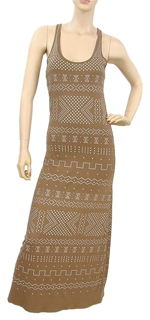 Brown Maxi Dress by Torn by Ronny Kobo Maxi Studded Jersey Racer-back