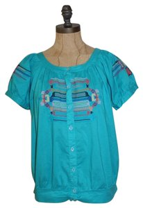 BRISK Cotton Boho Gypsy Peasant Embroidered Mexican Top Blue