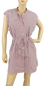 Domenico Vacca short dress Burgundy, White Striped Pinstripe Sleeveless Cotton Drop Waist on Tradesy