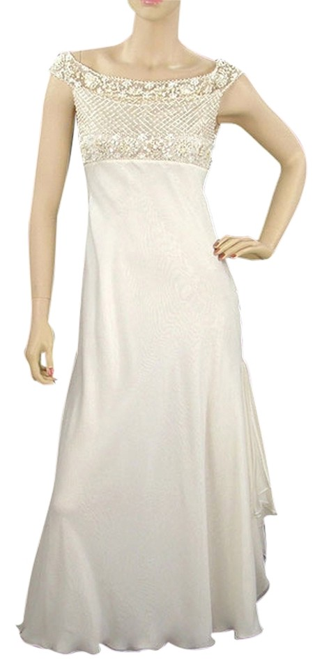 Valentino Ivory Cream Stunning Silk Beaded Long Formal Dress Size 4 ...