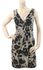 RED Valentino Leopard Animal Print Print Cotton Pleated Party Evening Empire Waist Dress