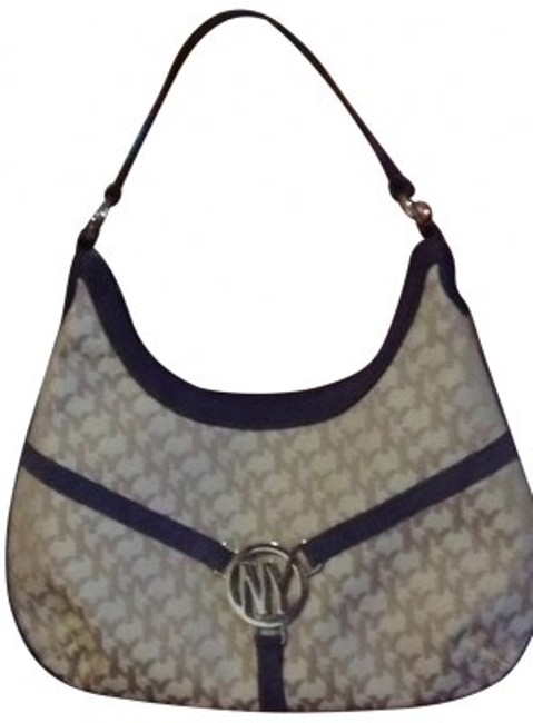 Item - Small Beige and Purple Hobo Bag