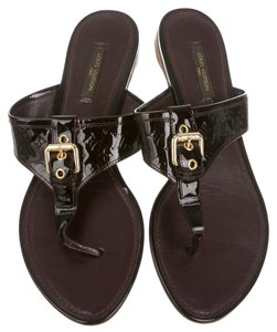 Louis Vuitton Patent Patent Leather Black Sandals