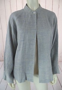Ellen Tracy Linda Allard Ellen Tracy Blazer Top Gray Blue Heather Linen Lightweight Chic