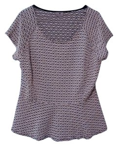 Worthington Peplum Plus Size Vintage Houndstooth Top White and black