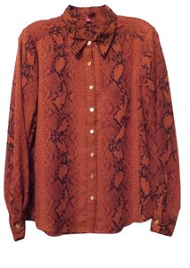 Vince Camuto Small Reptile Silky Top Burnt orange, black