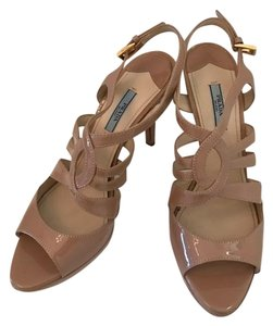 Prada Patent Leather Platform High Heel Nude Sandals