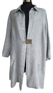 Banana Blue Linen Artsy Bohemian Blk White Cross Weave Jacket