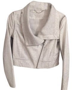 Yigal Azrouël White/ Gray Leather Jacket