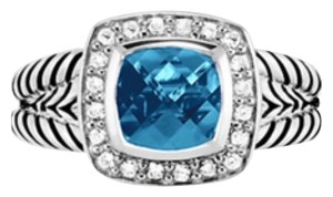 David Yurman David Yurman Petite Albion Blue Topaz And Diamond Ring