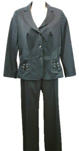 Escada ESCADA LACE UP POCKETS BLACK COTTON BLEND PANT SUIT 44