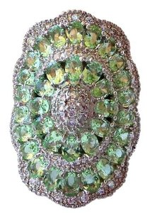 Beautiful Peridot & White Topaz Large 925 Sterling Silver Ring